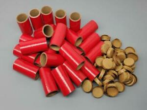 """25 Fireworks Tubes & Caps Kit Heavy Wall 1/4 Stick Red 1"""" x 2-1/2"""" x 1/8""""  37mm"""
