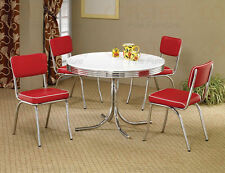 50's Retro 5 Piece Round Dining Set with Red Cushions
