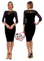 Womens Black Velvet Mesh Evening Bodycon Pencil Hollywood Wiggle Party Dress
