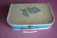 DDR Original Kinderkoffer Puppenkoffer blau selten Hunde Welpen Pappe Metall