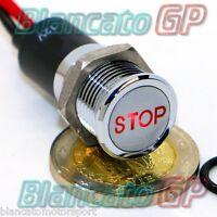 SPIA LED 14mm CON SIMBOLO TESTO STOP metallo 12V industria indicator light ROSSO