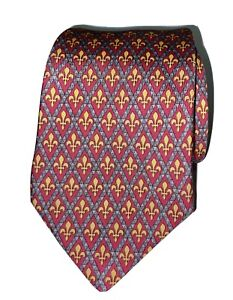 Hermes 7137 FA Tie 100% Silk Geometric Print Red And Yellow Made In France