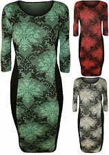 Party 3/4 Sleeve Stretch, Bodycon Floral Dresses for Women