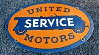 VINTAGE ORIGINAL UNITED MOTOR SERVICE PORCELAIN METAL GASOLINE & OIL SIGN HARLEY