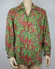 Mens Vintage 70s Style Paisley Print Prince Festival Party Shirt L toXL Handmade