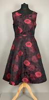 Monsoon Uk12 Fit & Flare Occasion Dress Red Black Rose Pattern Net Underskirt