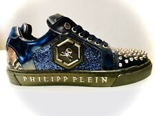 Philipp Plein Blue Bling Glitter Sneakers Shoes UK 8/ EU 42/ US 7