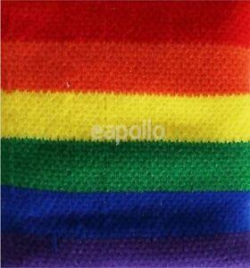 Unisex Gay Pride Rainbow Stripe Sweatband Wristband - Brand New