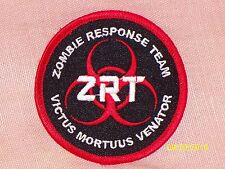 Embroidered Iron-On Patch Zombie Response Team ZRT Red Black White Lettering