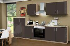 Küchenzeile Premium Hochglanz Lava CF 300cm, Sonoma Nb.,incl.E-Geräte, Apotheker