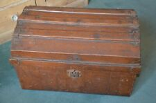 Vintage Period metal trunk, faux wood effect metal
