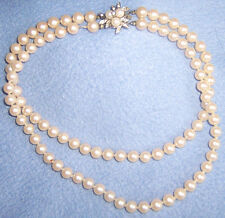 "Vtg faux PEARL-y 2 STRAND NECKLACE fancy decorative clasp 16"" VG quality knotted"