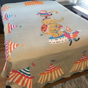Vintage Mid Century Childrens Twin Bed Spread Cover Circus Clown Coverlet 1960s