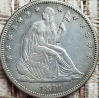 1871 Seated Liberty Half Dollar 50C - Nice Coin, Semi-Key Date 1,203,600 minted