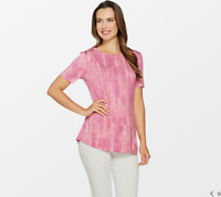 Lisa Rinna Collection Printed Knit Top with Back Detail, Pink Combo, 2X