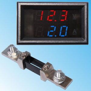 100V Voltmètre 200A Ampèremètre avec Shunt Digital Display Numérique Panneau DC