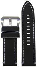26mm Panatime Black Galaxy Leather Watch Band w White Stitching & Edging 125/75