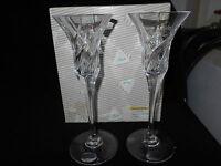 "Pair of Rogaska English Garden 8""  Kristal Candleholders - New in Box"