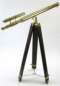 GTIFFITH BRASS TELESCOPE ON TRIPOD - TELESCOPE ON WOODEN TRIPOD - NAUTICAL