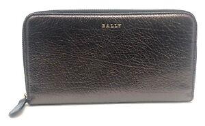 Bally Women's Morissa Black Blush Leather Long Zip Around Wallet