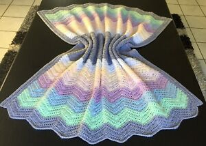 A Handmade Crochet Baby Bassinet Car Cot Floor Pram Blanket 100L X 90W Pastels