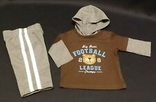 """Carters 2 pc. knit hooded playset - """"Big Bear Football League"""" size 3 months"""