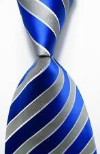 New Classic Striped Blue Gray JACQUARD WOVEN 100% Silk Men's Tie Necktie