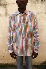Guess Mens Casual Shirt Multi Striped Long Sleeved XL speckled Design