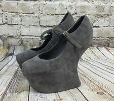 Jeffrey Campbell Night Walk Q Gray Platform Heels Size 7-7.5 Leather Suede