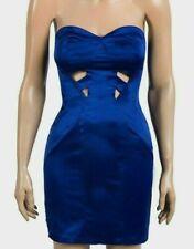 BNWOT, Asos, Para Mujer Azul Vestido Sin Tirantes Raso sentir Bodycon Corto, Talla 10