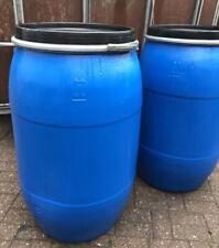 4 x 60 L Tonne Deckelfass blau Kunststofffass mit Deckel und Spannring NEUWARE.