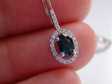 Sapphire & Diamond pendant, 18ct Gold, Sapphire with Diamond Halo Pendant, 18ct