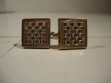 Hickok USA Silver Tone Cufflinks Cuff Links Square 3D Dimensional Checker Style
