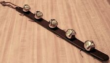 Amish-made Leather Jingle Bell Strap Christmas Door Decor, 5 Brass plated bells