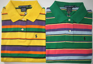 NWT Polo Ralph Lauren Golf Women Colour Striped Collared Neck Top T-Shirt Shirt
