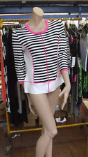 Joseph Ribkoff 12 BNWT Delightful Black & White Bands + Pink Classic Zip-Up Top