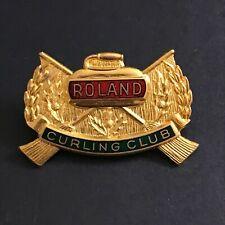 New listing VINTAGE CURLING PIN ROLAND CURLING CLUB  (Birks missing screw on back)