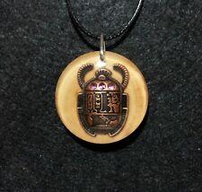 Scarab Beetle Pendant,Egypt inspired amulet, laurel wood resin jewelry,spiritual