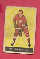 1961-62 PARKHURST # 21 RED WINGS VAL FONTEYNE   CARD