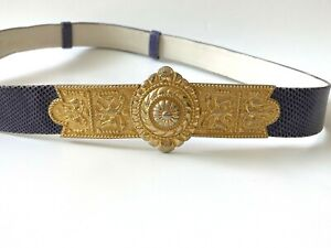 Judith Leiber Women S M L One Size Purple Leather Belt Gold Tone Buckle Auth