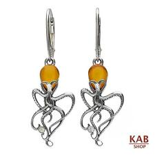 COGNAC BALTIC AMBER GEMSTONE & STERLING SILVER 925 EARRINGS OCTOPUS. KAB-53 e c