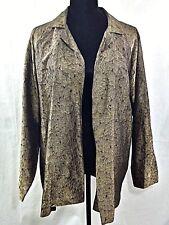 Eskandar Women's Open Front Top Plus Size 2 Silk/Metal Golden Floral Textured