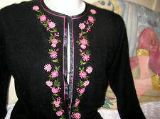 Vintage 60's Black Cashmere/Angora Cardigan Sweater w/ Pink Roses Embroidery Med