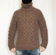 Hand knitted MOHAIR WOOL mens sweater turtleneck, soft fuzzy cable pullover L
