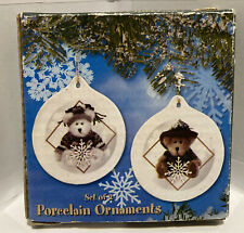 Vintage Boyds Bears Porcelain Ornaments Set of 2 Sugar Plum 2001 #2374