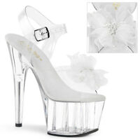 Pleaser ADORE-708BFL Women's Clear White Flower Beads Toe Platform Strap Sandals