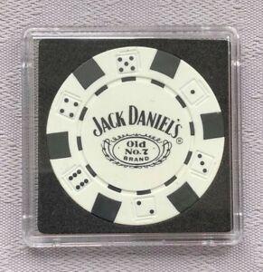 JACK DANIEL'S OLD No.7 BRAND CASINO/POKER CHIP CARD GUARD/PROTECTOR - White (a)