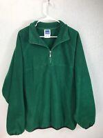 Vintage Adidas Men's Large Dark Green Pullover Jacket Fleece Sweatshirt 1/2 Zip