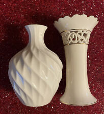 Lot Of 2 Lenox Vases Gold Trim,Spiral Optic And Filigree Open Hearts.