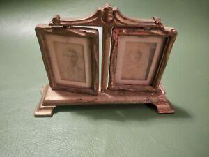 Antique Double Swivel Art Nouveau Wood Table Top Photo Frame with photos Estate